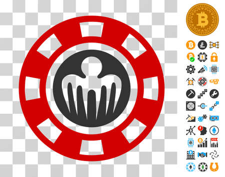 Spectre Casino Chip icon with bonus bitcoin mining and blockchain pictographs. Vector illustration style is flat iconic symbols. Designed for crypto currency software.