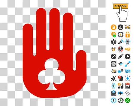 Stop Gambling Hand pictograph with bonus bitcoin mining and blockchain graphic icons. Vector illustration style is flat iconic symbols. Designed for bitcoin software. Illustration