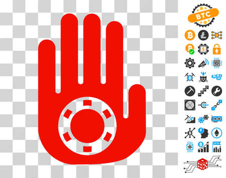 Stop Gambling Palm pictograph with bonus bitcoin mining and blockchain design elements. Vector illustration style is flat iconic symbols. Designed for cryptocurrency software. Illustration