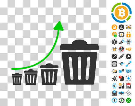 Trash Growing Trend icon with bonus bitcoin mining and blockchain clip art. Vector illustration style is flat iconic symbols. Designed for bitcoin software.