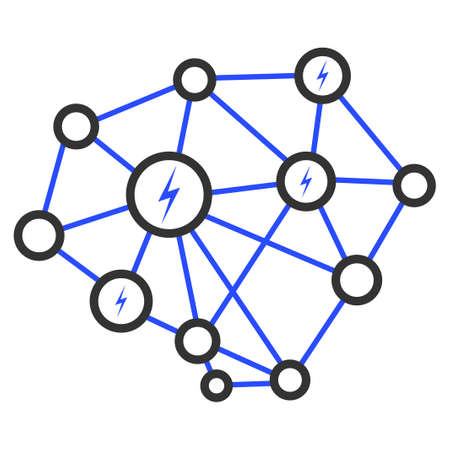 Lightning Network flat raster illustration. An isolated icon on a white background. Foto de archivo