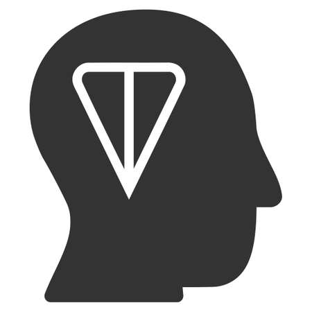 Ton Idea Head flat raster illustration. An isolated icon on a white background. 스톡 콘텐츠