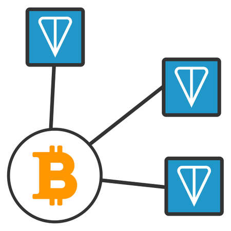 Bitcoin Ton Network flat vector icon. An isolated icon on a white background.