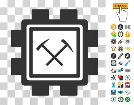 Hammers Mining Pool icon with bonus bitcoin mining and blockchain pictograms. Vector illustration style is flat iconic symbols. Designed for blockchain software.