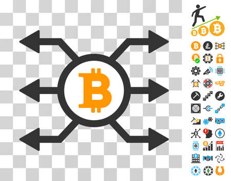 Bitcoin Node Cashout pictograph with bonus bitcoin mining and blockchain symbols. Vector illustration style is flat iconic symbols. Designed for cryptocurrency apps.