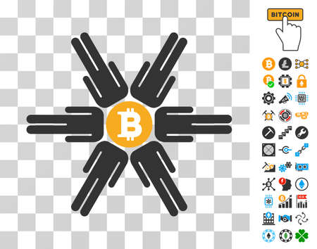 Bitcoin Pool Community pictograph with bonus bitcoin mining and blockchain icons. Vector illustration style is flat iconic symbols. Designed for crypto-currency websites.