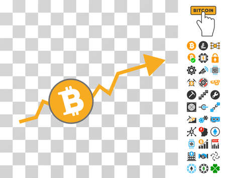 Bitcoin Up Trend pictograph with bonus bitcoin mining and blockchain clip art. Vector illustration style is flat iconic symbols. Designed for crypto currency websites. Иллюстрация
