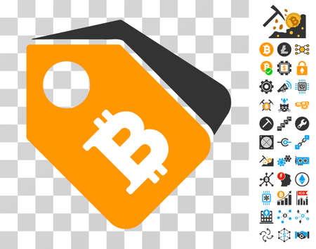 Bitcoin Tags pictograph with bonus bitcoin mining and blockchain graphic icons. Vector illustration style is flat iconic symbols. Designed for crypto currency ui toolbars. Illustration
