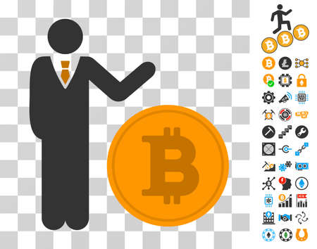 Businessman Show Bitcoin Coin icon with bonus bitcoin mining and blockchain pictures. Vector illustration style is flat iconic symbols. Designed for blockchain software. Illustration