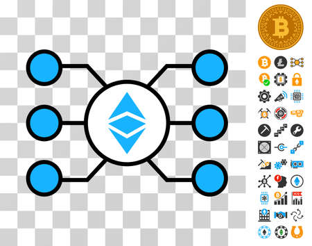 Ethereum Classic Masternode Links pictograph with bonus bitcoin mining and blockchain clip art. Vector illustration style is flat iconic symbols. Designed for bitcoin apps. Illustration