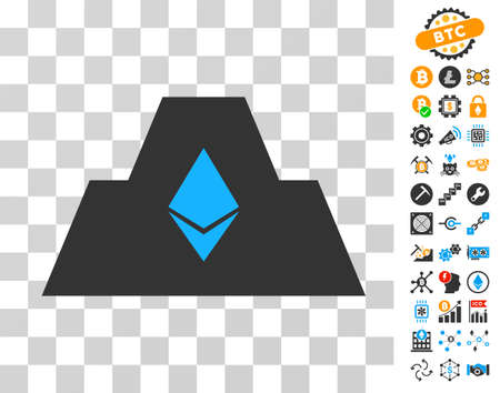 Ethereum Crystal Citadel icon with bonus bitcoin mining and blockchain pictograms. Vector illustration style is flat iconic symbols. Designed for bitcoin websites.