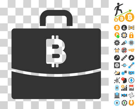 Bitcoin Accounting Case icon with bonus bitcoin mining and blockchain pictograms. Vector illustration style is flat iconic symbols. Designed for crypto currency ui toolbars. Illustration