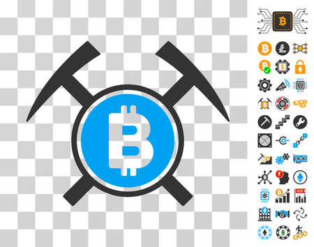 Bitcoin Mining Hammers icon with bonus bitcoin mining and blockchain icons. Vector illustration style is flat iconic symbols. Designed for bitcoin apps.