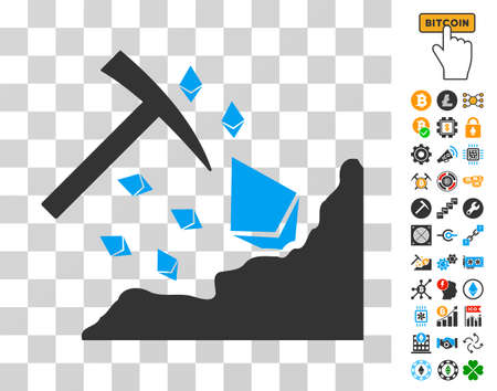 Ethereum Mining Hammer icon with bonus bitcoin mining and blockchain pictograms. Vector illustration style is flat iconic symbols. Designed for bitcoin ui toolbars.