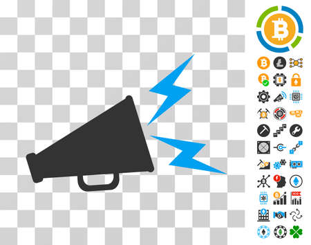Alert Megaphone icon with bonus bitcoin mining and blockchain design elements. Vector illustration style is flat iconic symbols. Designed for cryptocurrency apps.