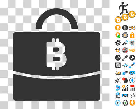Bitcoin Accounting Case icon with bonus bitcoin mining and blockchain icons. Vector illustration style is flat iconic symbols. Designed for crypto currency software.