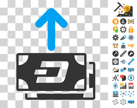 Dash Banknotes Pay Out pictograph with bonus bitcoin mining and blockchain design elements. Vector illustration style is flat iconic symbols. Designed for blockchain apps.