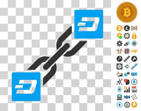 Dash Blockchain icon with bonus bitcoin mining and blockchain symbols. Vector illustration style is flat iconic symbols. Designed for crypto currency software. Illustration