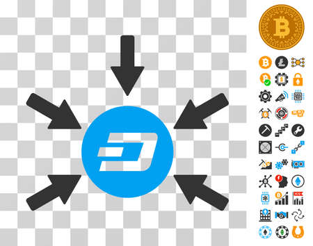 Dash Coin Income Arrows icon with bonus bitcoin mining and blockchain design elements. Vector illustration style is flat iconic symbols. Designed for crypto currency apps. Illustration