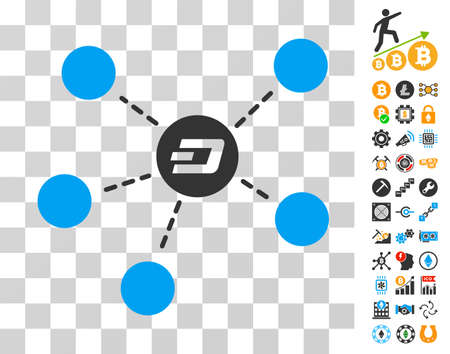 Dash Coin Relations pictograph with bonus bitcoin mining and blockchain images. Vector illustration style is flat iconic symbols. Designed for blockchain websites.