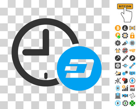 Dash Credit Time icon with bonus bitcoin mining and blockchain pictures. Vector illustration style is flat iconic symbols. Designed for blockchain software. Illustration
