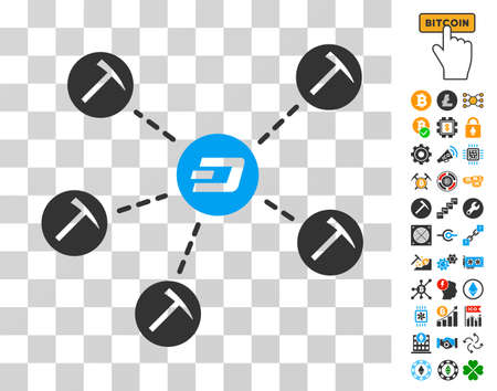 Dash Mining Network icon with bonus bitcoin mining and blockchain images. Vector illustration style is flat iconic symbols. Designed for blockchain software.