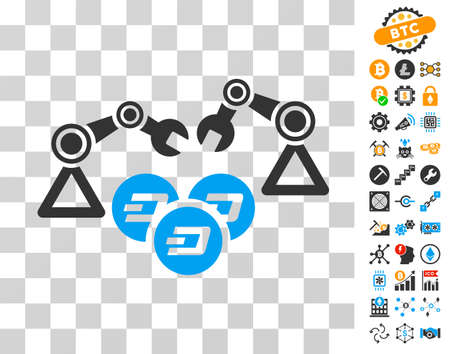 Dash Mining Robotics icon with bonus bitcoin mining and blockchain design elements. Vector illustration style is flat iconic symbols. Designed for cryptocurrency websites.