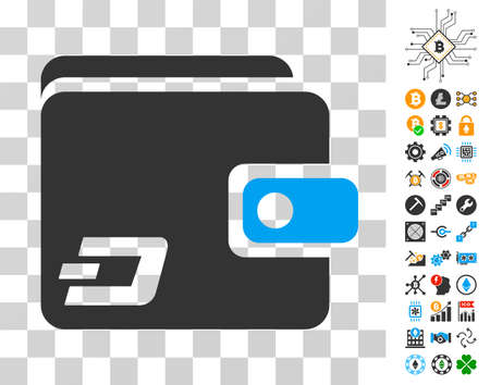 Dash Wallet Icon With Bonus Bitcoin Mining And Blockchain Pictograms Vector Illustration Style Is Flat