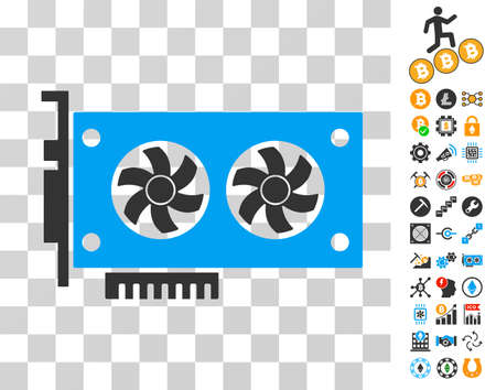 Dual Gpu Videocard icon with bonus bitcoin mining and blockchain images. Vector illustration style is flat iconic symbols. Designed for cryptocurrency websites.