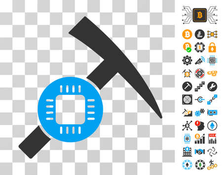 Electronic Mining Hammer pictograph with bonus bitcoin mining and blockchain icons. Vector illustration style is flat iconic symbols. Designed for blockchain apps. Illustration