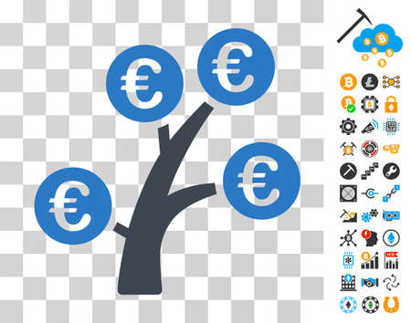 Euro Money Tree icon with bonus bitcoin mining and blockchain graphic icons. Vector illustration style is flat iconic symbols. Designed for blockchain ui toolbars.