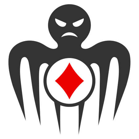 Gambling Spectre Monster flat raster pictograph. An isolated icon on a white background.