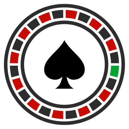 Casino Roulette flat raster pictograph. An isolated icon on a white background. Stock Photo