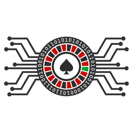 Digital Casino Roulette flat raster pictogram. An isolated icon on a white background. Stock Photo