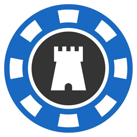 Bulwark Casino Chip flat raster pictogram. An isolated icon on a white background.