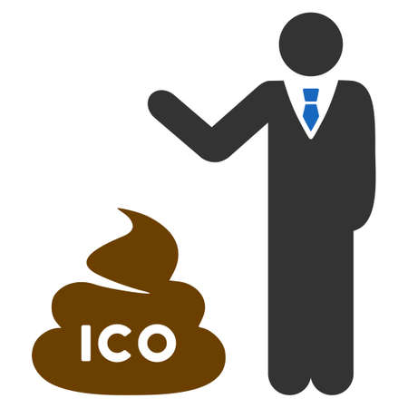 Businessman Show Ico Shit flat raster pictogram. An isolated icon on a white background.
