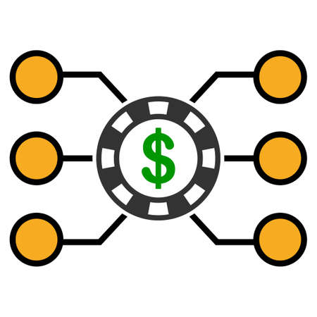 Casino Chip Circuit flat raster pictograph. An isolated icon on a white background.