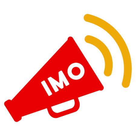 Imo Megaphone Alert 평면 래스터 그림 문자. 흰색 배경에 고립 된 아이콘입니다.