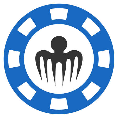 Monster Casino Chip flat raster icon. An isolated icon on a white background.