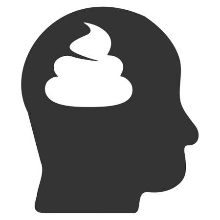 Shit Brain flat raster pictograph. An isolated icon on a white background.