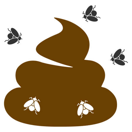 Shit Flies flat raster illustration. An isolated icon on a white background. Stock Photo
