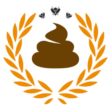 Shit Laurel Emblem flat raster illustration. An isolated icon on a white background.