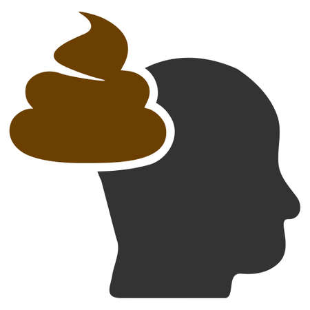 Shit Thinking Head flat raster pictogram. An isolated icon on a white background.