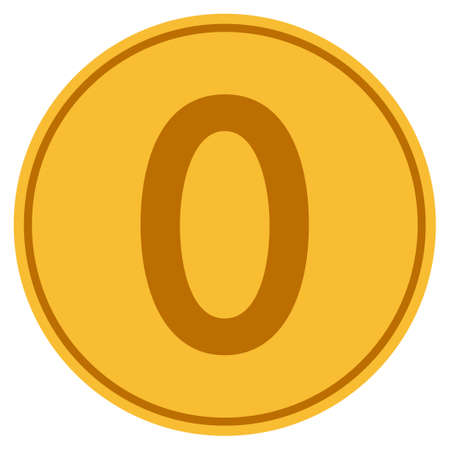 Zero gold coin icon. Vector style is a golden yellow flat coin symbol. Ilustração