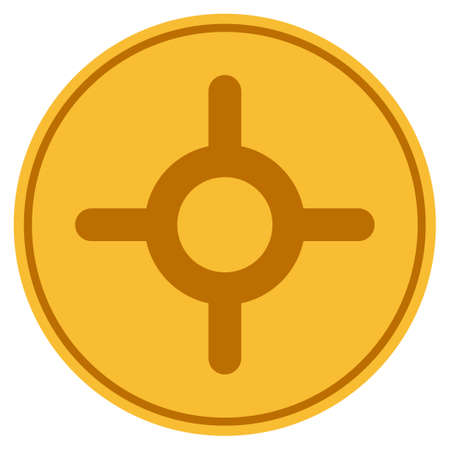 Roulette gold coin icon. Vector style is a golden yellow flat coin symbol. Illustration