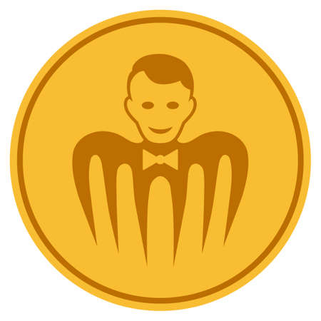Croupier Monster gold coin icon. Vector style is a golden yellow flat coin symbol.