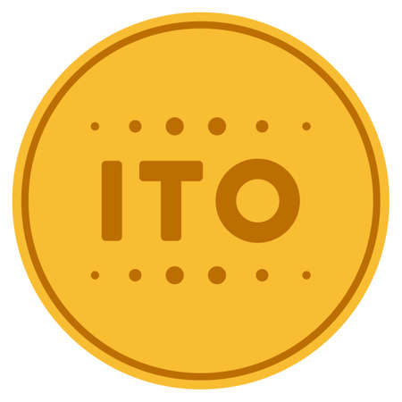 Ito Caption gold coin icon. Vector style is a golden yellow flat coin symbol.