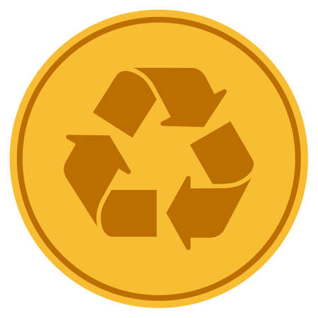 reciclar monedas icono de la moneda de oro. estilo de vector es un símbolo de moneda de oro colorido .