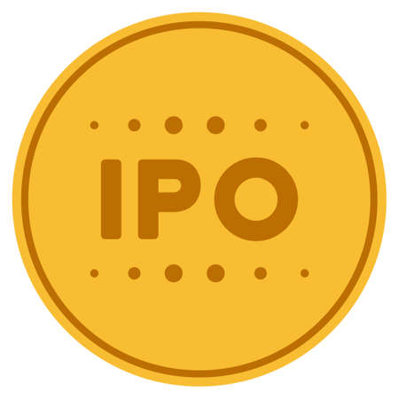 Ipo Caption gold coin icon. Raster style is a golden yellow flat coin symbol.