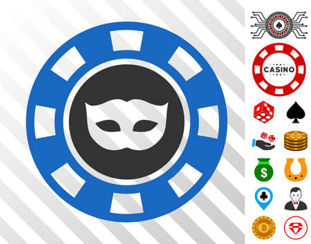 Anonymous Casino Chip pictograph with bonus gambling icons. Vector illustration style is flat iconic symbols. Designed for casino websites. Illustration